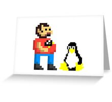 Tux and some linux guy Greeting Card