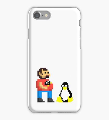 Tux and some linux guy iPhone Case/Skin