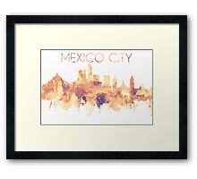Mexico City Skyline, Travel Watercolor Cityscape Wall Decor, Cartography Art, Mexico City Cityscape, Mexico Illustration,Accessories,perfect gift. Framed Print