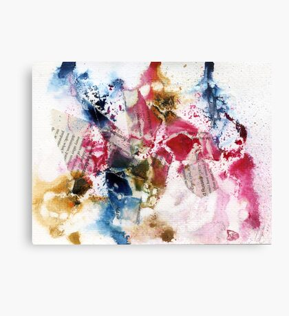 Blue, Pink and brown abstract  Canvas Print