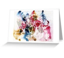 Blue, Pink and brown abstract  Greeting Card