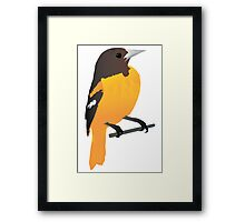 Yellow Cartoon Bird in Turquoise Background Framed Print