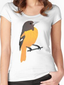 Yellow Cartoon Bird in Turquoise Background Women's Fitted Scoop T-Shirt