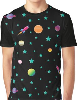 Space Odyssey : Galaxy Rocket Planet Design Print Graphic T-Shirt