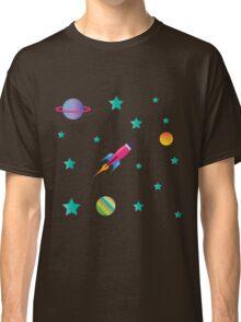 Space Odyssey : Galaxy Rocket Planet Design Print Classic T-Shirt