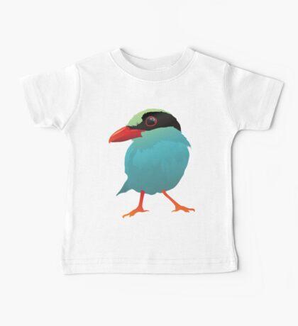 Blue Cartoon Bird in Black Background Baby Tee