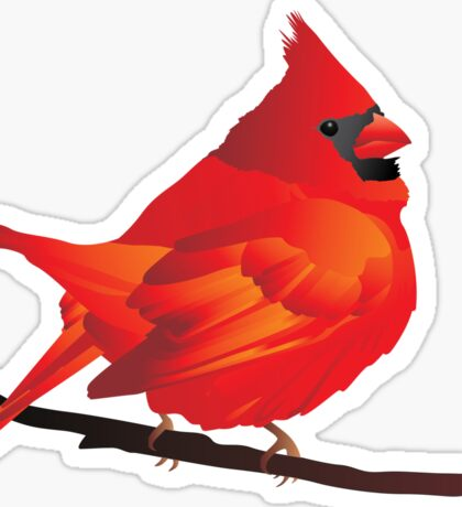 Orange Red Cartoon Bird in White Background Sticker