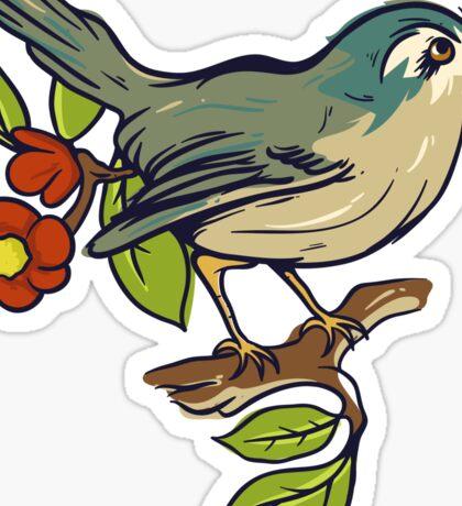 Bird On A Branch With Beige Background Sticker