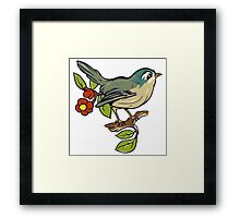 Bird On A Branch With Beige Background Framed Print