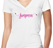 JUMP ROPE MAN Women's Fitted V-Neck T-Shirt