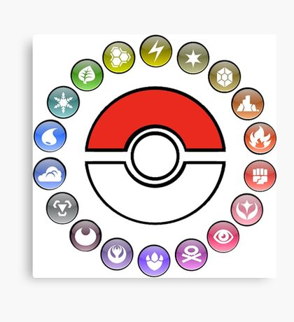 Pokemon Type Wheel v2 Canvas Print