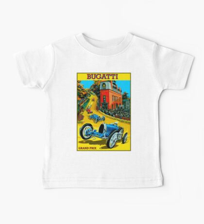BUGATTI; Vintage Grand Prix Auto Racing Print Baby Tee