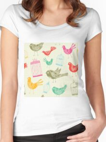 Vintage Retro Birds And Cage Women's Fitted Scoop T-Shirt