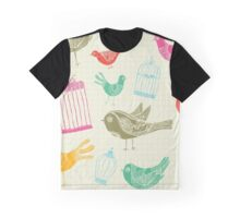 Vintage Retro Birds And Cage Graphic T-Shirt