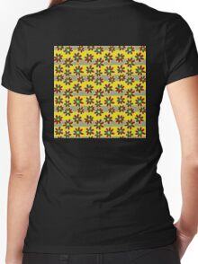 Yellow Red Flowers Women's Fitted V-Neck T-Shirt