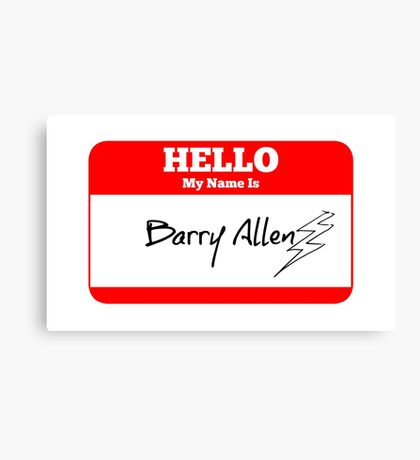 Hello My Name Is Barry Sticker Canvas Print