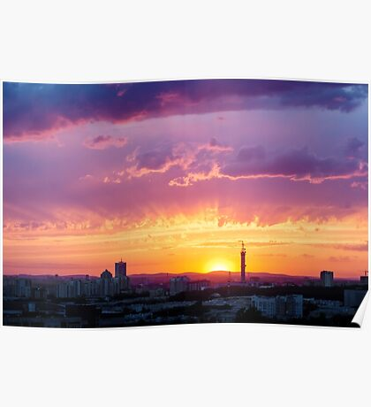 Fantastic Dramatic Sunset Sky in Industrial City Poster