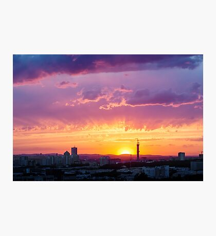 Fantastic Dramatic Sunset Sky in Industrial City Photographic Print