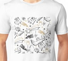 Christmas hand drawn seamless pattern with cute angels. Unisex T-Shirt