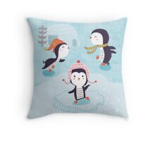 Dancing Penguins Throw Pillow