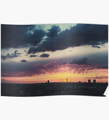 Epic Dramatic Sunset Sky in Industrial City Poster