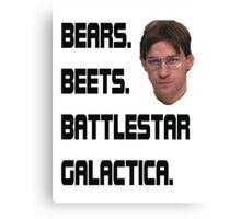 bears Beets  Battelstar Galactica Canvas Print
