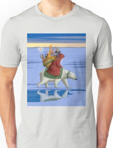 Santa on polar bear Unisex T-Shirt