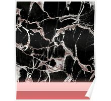 Black Marble Pink Feel Poster