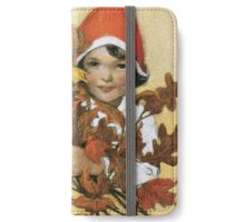 Jessie Willcox Smith - Girl With Fall Leaves. Child portrait: cute baby, kid, children, pretty angel, child, kids, lovely family, boys and girls, boy and girl, mom mum mammy mam, childhood iPhone Wallet/Case/Skin