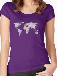 Newspaper World Map Women's Fitted Scoop T-Shirt