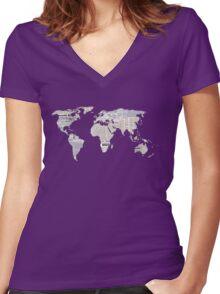 Newspaper World Map Women's Fitted V-Neck T-Shirt