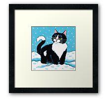 Knee Deep in the White Stuff (Tuxedo Cat in Snow) Framed Print