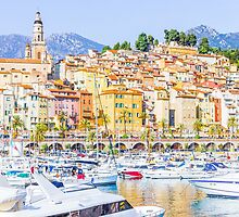 Port in Menton, France by gianliguori