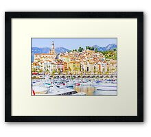 Port in Menton, France Framed Print
