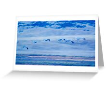 Sandhill Cranes in Blue Greeting Card