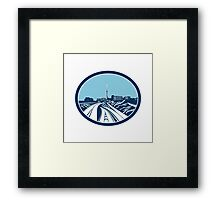 Sky Tower Auckland Woodcut Retro Framed Print