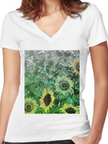 Floral-tp3 Women's Fitted V-Neck T-Shirt