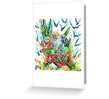 MOTOR DEMON with BATS Greeting Card