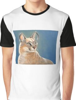 Caracal Cat Wildlife Oil Painting Graphic T-Shirt