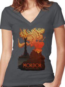 Mordor Travel Women's Fitted V-Neck T-Shirt