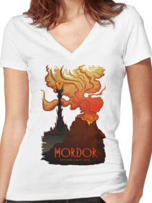 Mordor Travel Women's Fitted V-Neck T-Shirt