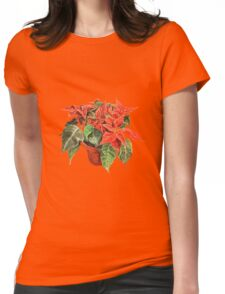 Poinsettia flower painted with watercolor  Womens Fitted T-Shirt