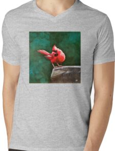 Who's Looking at You? Red Cardinal Oil Painting Print Mens V-Neck T-Shirt
