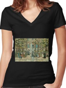 Maurice Brazil Prendergast Court Yard West End Library Boston Women's Fitted V-Neck T-Shirt