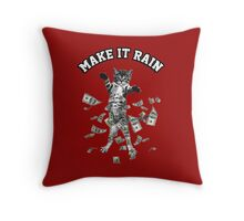 Dollar bills kitten - make it rain money cat Throw Pillow