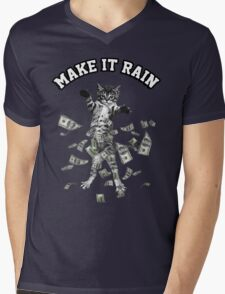 Dollar bills kitten - make it rain money cat Mens V-Neck T-Shirt