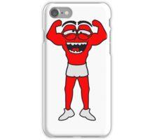 muskeln bodybuilder stark poser fitness trainieren mann sexy monster gesicht crazy verrückt comic cartoon  iPhone Case/Skin