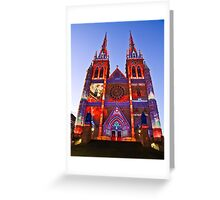 St Marys Cathedral (Governor Macquarie) - Vivid Festival - Sydney - Australia Greeting Card
