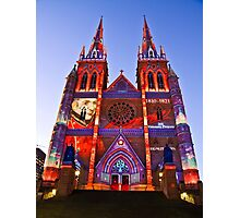 St Marys Cathedral (Governor Macquarie) - Vivid Festival - Sydney - Australia Photographic Print