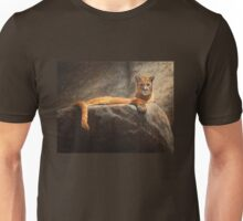 Laying Cougar Wildlife Cat Painting Print Unisex T-Shirt